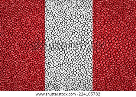 Peru Flag painted on stingray skin texture - stock photo