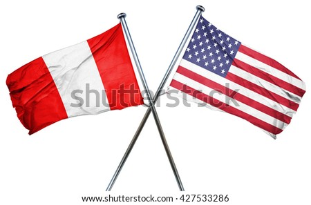 Peru flag with american flag, isolated on white background - stock photo