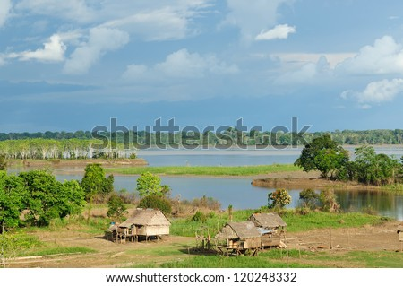 Peru, Peruvian Amazonas landscape. The photo present typical indian tribes settlement in the Amazon - stock photo