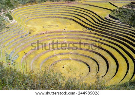 Peru, Pisac - Inca ruins in the sacred valley  - stock photo