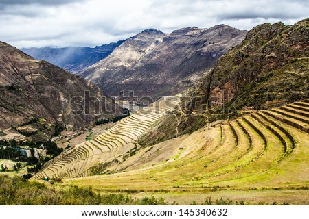 Peru, Pisac (Pisaq) - Inca ruins in the sacred valley in the Peruvian Andes - stock photo