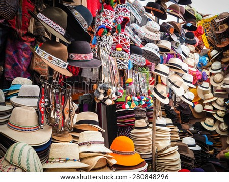 Peru's local hat from Pisa Market - stock photo