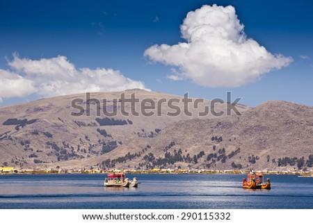 Peru - Titicaca floating village - Uros - stock photo