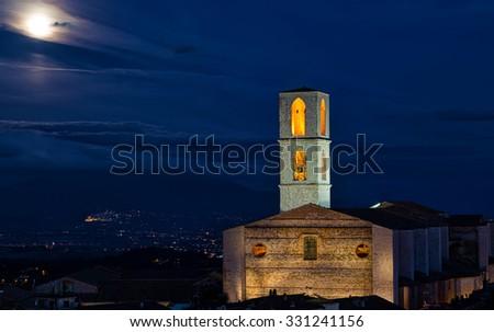 Perugia, Basilica di San Domenico at night in a full moon - stock photo