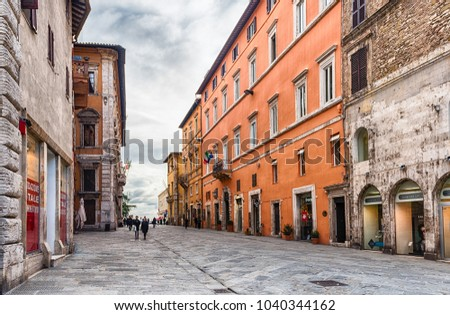 PERUGIA, ITALY - JANUARY 12: People walking in Corso Vannucci, scenic main street in the city centre of Perugia, Italy, on January 12, 2018