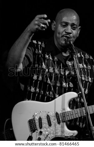 PERUGIA, ITALY - JULY 14 : Allan Harris plays guitar and singing on stage at Umbria Jazz Festival - July 14, 2011 in Perugia, Italy