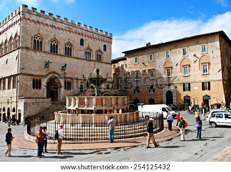 PERUGIA, ITALY - OCTOBER 2010: View of Fontana Maggiore and Piazza IV Novembre. Umbria, central Italy.  - stock photo