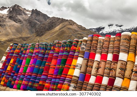 Peruvian colorful fabrics and cloths - stock photo