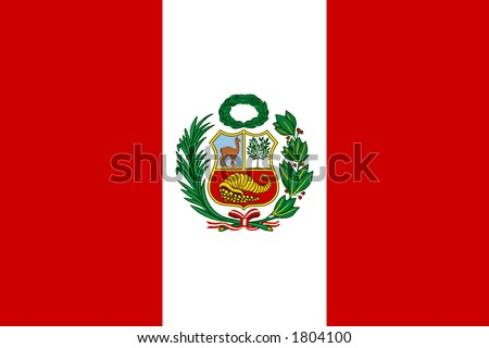 Peruvian flag with National Emblem - stock photo