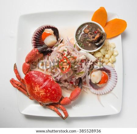 Peruvian food, fish and seafood ceviche, Cebiche mixto. - stock photo