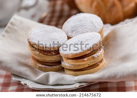 Peruvian food: Sweet Alfajor cookies portion served over napkin - stock photo
