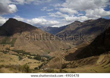 Peruvian Terraced Landscape in the Sacred Valley - stock photo