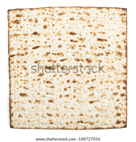 Pesach jewish traditional textured Matza bread substitute isolated on white background - stock photo