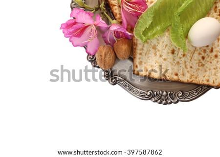 Pesah celebration concept (jewish Passover holiday). isolated on white - stock photo