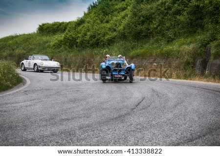 Pesaro, Italy - May 15, 2015: BUGATTI T 35B 1928  old racing car in rally Mille Miglia 2015 the famous italian historical race (1927-1957)