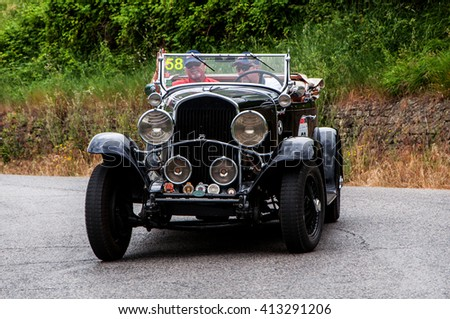 Pesaro, Italy - May 15, 2015 :  CHRYSLER 75 Le Mans 1929 old racing car in rally Mille Miglia 2015 the famous italian historical race (1927-1957)
