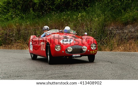 PESARO, ITALY - MAY 15: CISITALIA 202 SMM Spider 1948 old racing car in rally Mille Miglia 2015 the famous italian historical race (1927-1957) on May 2015