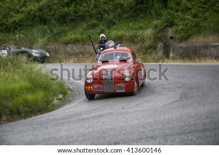 "PESARO, ITALY - MAY 15: FIAT 1100 S berlinetta ""Gobbone"" 1948  old racing car in rally Mille Miglia 2015 the famous italian historical race (1927-1957) on May 2015"