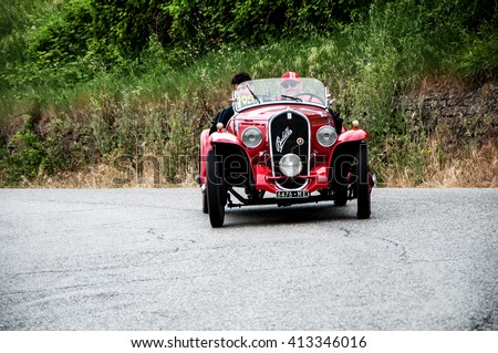 "Pesaro, Italy - May 15, 2015: FIAT 508 S Coppa d'Oro ""Balilla Sport"" 1934 old racing car in rally Mille Miglia 2015 the famous italian historical race (1927-1957)"