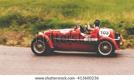 PESARO, ITALY - MAY 15: MASERATI 4 CS 1500 1934 racing car in rally Mille Miglia 2015 the famous italian historical race (1927-1957) on May 2015