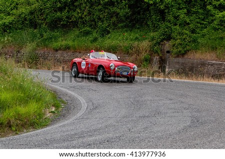 PESARO, ITALY - MAY 15:S.I.A.T.A. Daina Gran Sport Stabilimenti Farina 1952  old racing car in rally Mille Miglia 2015 the famous italian historical race (1927-1957) on May 2015