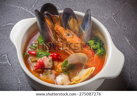 pescatore soup?Fisherman-like soup - stock photo
