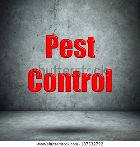 Pest Control concrete wall - stock photo