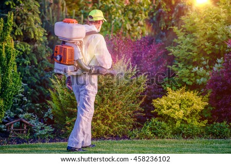Pest Control Garden Spraying by Professional Gardener Who Wearing Safety Wearing. - stock photo
