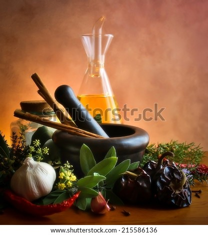 pestle and mortar - stock photo