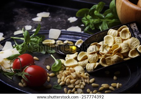 Pesto Genovese ingredients: basil, parmesan cheese flakes, pine nuts, and spoon of live oil with orcciete pasta in a trowel, wooden mortar and tomatoes on a vintage metal tray