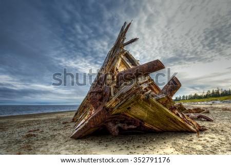 Pesuta Shipwreck, Naikoon Provincial Park, Haida Gwaii British Columbia Canada - stock photo