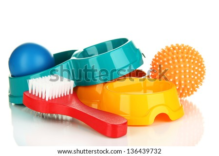 Pet accessories isolated on white - stock photo