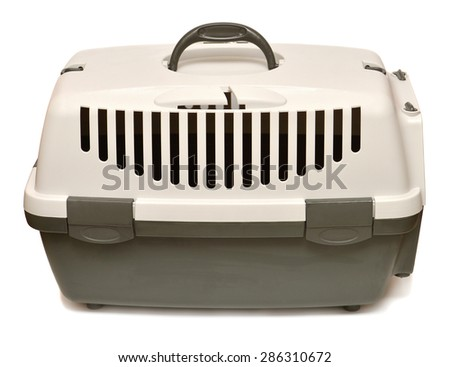 Pet carrier for traveling isolated on white background - stock photo