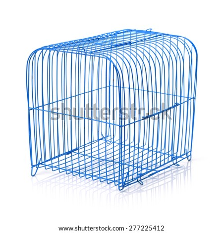 pet carrier isolated on a white background - stock photo