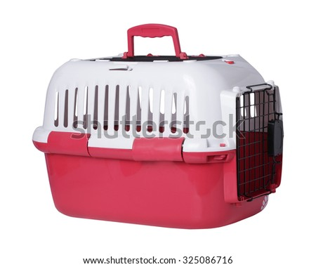 pet carrier isolated on white background. This has clipping path. - stock photo