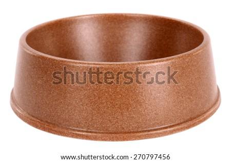 Pet dog bowl brown - stock photo