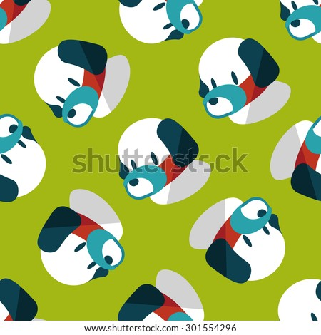 Pet dog mouth cover flat icon,eps10 seamless pattern background - stock photo