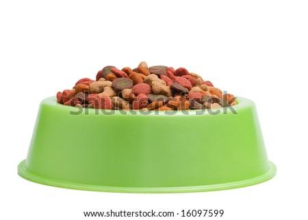 Pet Food Bowl Isolated White on Background - stock photo