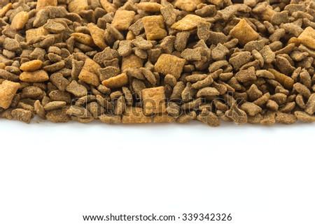 Pet food on white background - stock photo