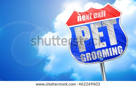 pet grooming, 3D rendering, blue street sign