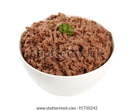 pet minced meat in bowl, dog food, cat food, wet food - stock photo