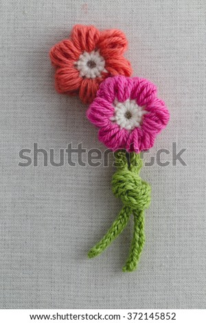 Petal Puff Stitch Crochet Flower  - stock photo