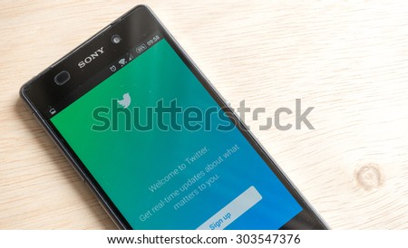 Petaling Jaya, Malaysia - Aug 6, 2015: Welcome screen for Twitter mobile app on android smartphone. Twitter was created in March 2006 by Jack Dorsey, Evan Williams and launched by July 2006 - stock photo