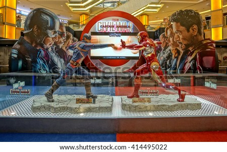 PETALING JAYA, MALAYSIA - MAY 2016 - Exhibition of Marvel Studio's new movie, Civil War, at Sunway Pyramid Shopping Centre. Characters' figurines, games, and other activities are being held here. - stock photo