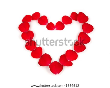 Petals heart in isolated white