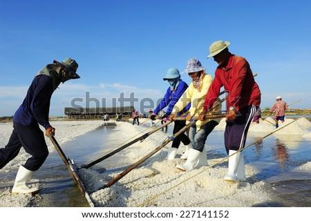 PETCHABURI, THAILAND - APR 26: Farmers harvesting salt in salt fields on April 26, 2014 in Petchaburi, Thailand.  - stock photo