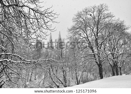 Peter and Paul Cathedral in winter Vysehrad in Praguer, Czech Republic - stock photo