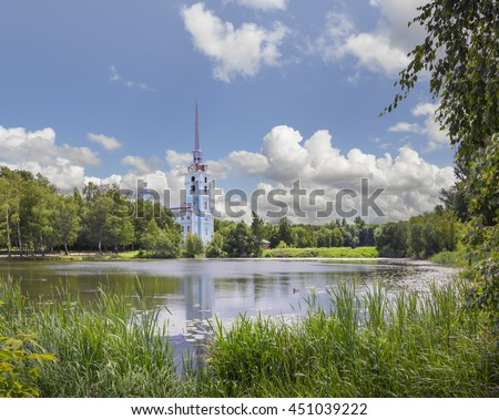 """Peter and Paul Church built in the first half of the XVIII century. The architectural style - """"Peter's baroque"""". Yaroslavl. Russia - stock photo"""