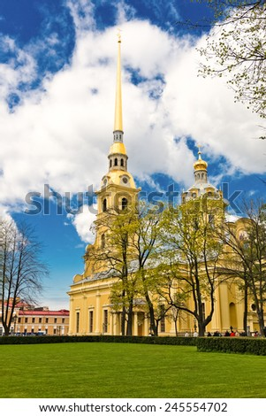 Peter and Paul Church in Peter and Paul's Fortress, St Petersburg, Russia  - stock photo