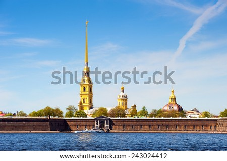 Peter and Paul Fortress, across the Neva river, St. Petersburg, Russia - stock photo